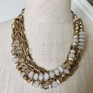INC Gold Beaded Statement Necklace